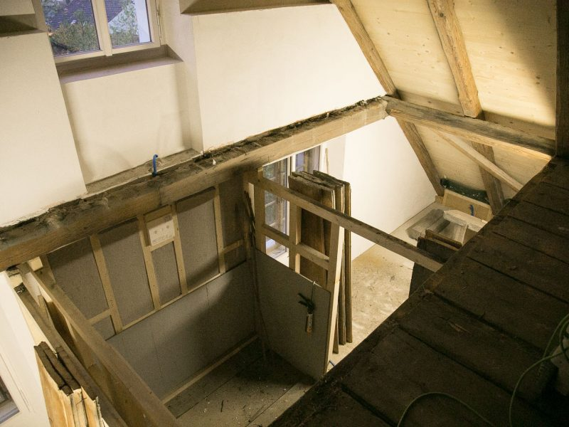Holzdecke im Dachgeschoss